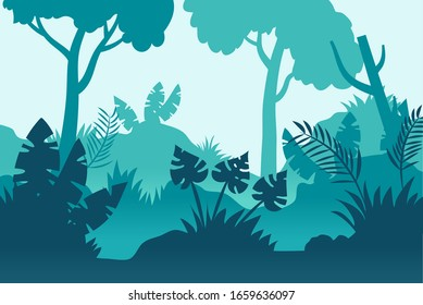 wallpaper of various kinds of leaves and plants in the middle of the forest