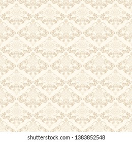 Wallpaper in vintage style on background. Floral light brown ornament on a cream background. Abstract vector illustration. Vector vintage illustration. Seamless floral wallpaper for your design