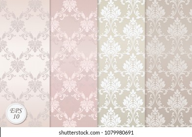 Wallpapers with Damask pattern in light colors.