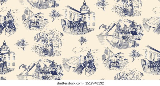 Wallpaper/textile classic half drop pattern in vintage toile de joyu style with motifs of alpine mountains region  in blue: edelweiss flowers, old town scene with carriage and horses, mountain village