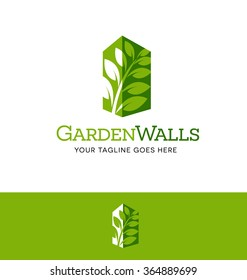 walls with green leaves. logo for business, organization or website