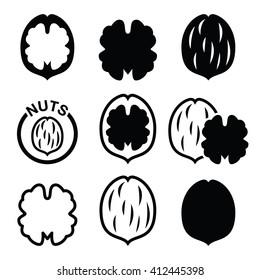 Walnut, nutshell vector icons set