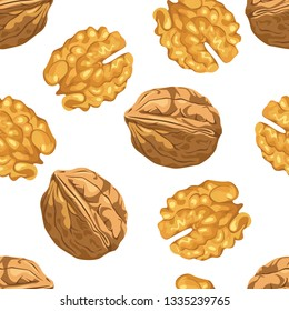 Walnut Seamless pattern on white background. Vector illustration of nuts in cartoon simple flat style.