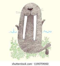 walrus, cute walrus,chubby walrus, funny walrus, happy day