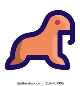 Walrus Filled Line Icon Vector