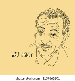 Walt Disney Line Art Portait Hand Drawing