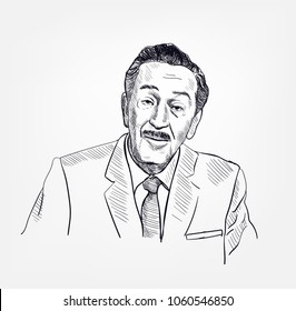 walt disney vector portrait sketch illustration