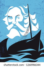 Walt Whitman, american poet and author, vector illustration