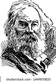 Walt Whitman, vintage engraved illustration