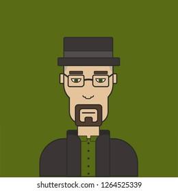 Walter White, Heisenberg, Breaking bad character illustration.
