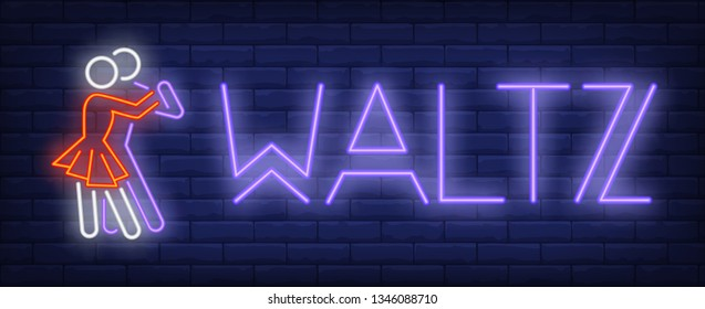 Waltz neon text with dancers couple. Dance studio or performance design. Night bright neon sign, colorful billboard, light banner. Vector illustration in neon style.