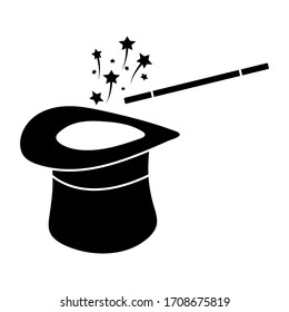 Wand Magic hat icon vector template, color editable