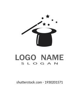 Wand magic hat Logo Template vector symbol design