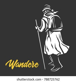 Wandere, Wanderer,  vector illustration.
