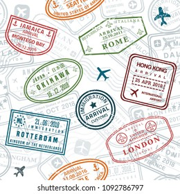 Wanderlust background. Passport stamps vector seamless pattern - travel stamp theme (fictitious stamps).
