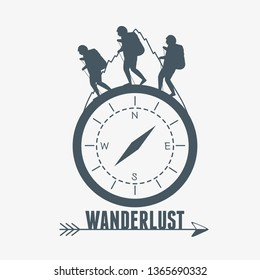 wanderlust label with campass and walkers