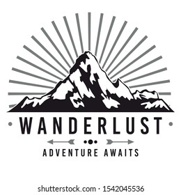 Wanderlust Lifestyle Logo. Adventure Mountain Design. Vector Illustration Cut File.