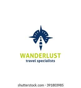 Wanderlust Original Simple Minimal Symbol Composed of Compass & Road Image.  Memorable Visual Metaphor. Represents the Concept of Travel, Adventure, Tourism, Freedom, Exploration, GPS, Journey etc.