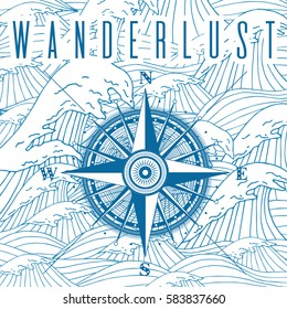 Wanderlust poster with compass. Vector travel and adventure illustration with navigation equipment