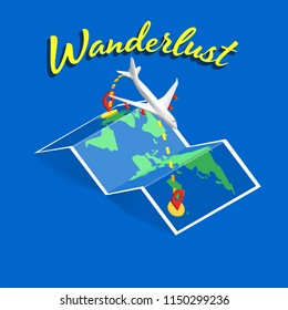 wanderlust text banner with isometric folded map and  commercial airplane