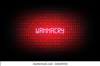 The wannacry virus is among red binary code and ransomware, virus computer attack concept, technology background, vector illustration