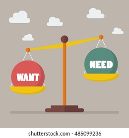 Want and need balance on the scale. Business Concept