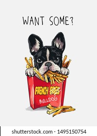 want some slogan with cartoon french bulldog in french fries box illustration