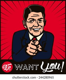 I want you! Retro businessman with pointing finger choosing candidate