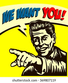 I want you! Vintage businessman with pointing finger picking candidate for job vacancy, we're hiring now sign comic book style vector illustration, join us
