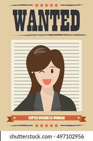 Wanted business woman. Wanted Vintage Poster