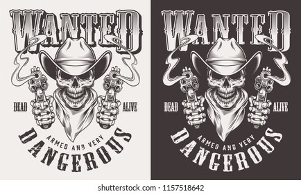 Wanted cowboy print with skull in vintage style. Vector illustration