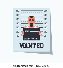 Wanted criminal. Placard template with arrested photo. Missing announce. Wanted man. Vector illustration flat design. Cash reward banner. Poster on wall. Crime outlaw. dangerous criminal.