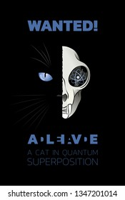 Wanted Dead-And-Alive A Cat In Quantum Superposition. Illustration on the subject of a paradox of Quantum Physique.