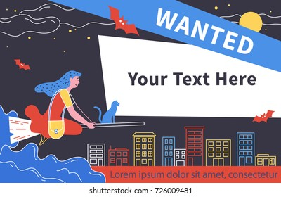 Wanted. Flat style vector illustration recruitment poster design. Halloween girl witch with a kitten flying on a broom.