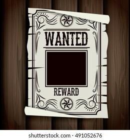 Wanted paper poster icon. Search and western theme. Vintage and retro design. Wood background. Vector illustration