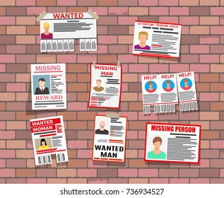 Wanted person paper poster on brick wall. Missing announce. Information tear off papers. Search for lost person in big city. Vector illustration in flat style