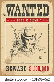 Wanted poster background. Vector western illustration with bandit man and gun