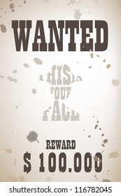 Wanted poster with cowboy shape