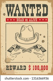 Wanted poster for portrait .Western vintage paper with cowboy hat and guns
