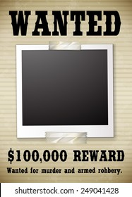 A wanted poster showing a reward money