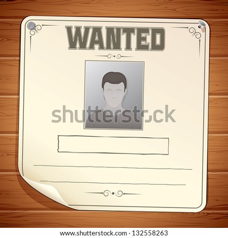 Wanted poster template blank sign on stock vector royalty free wanted poster template blank sign on wooden wall vector maxwellsz