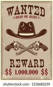 Wanted poster template. Cowboy hat and revolvers on grunge background. Design element for poster, card, banner, flyer. Vector illustration