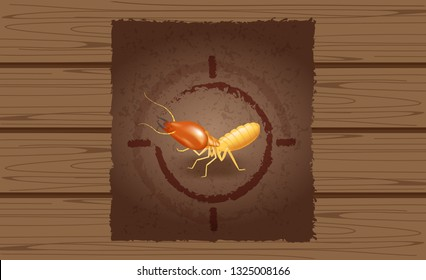 wanted poster of termites on wooden brown wall, empty termite ad on wood vintage wall, termite image at wood texture for banner advertising retro style, illustration termites cartoon (vector)