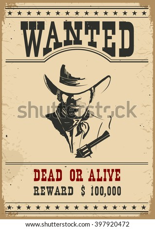 Wanted Poster Western Vintage Paper Design Stock Vector