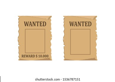 Wanted for reward poster. Vector illustration in flat design