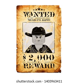 Wanted reward in retro style. Template photo design. Award banner illustration