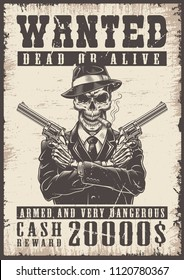 Wanted vintage poster with skull. Vector illustration