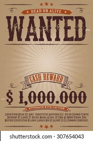 Wanted Vintage Western Poster/ Illustration of a vintage old elegant wanted placard poster template, with dead or alive inscription, money cash reward as in western movies
