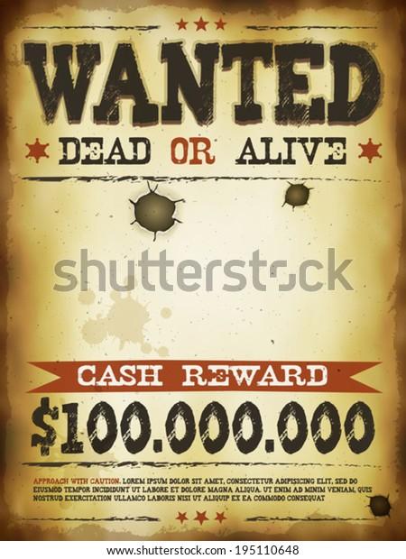 стоковая векторная графика Wanted Vintage Western Poster