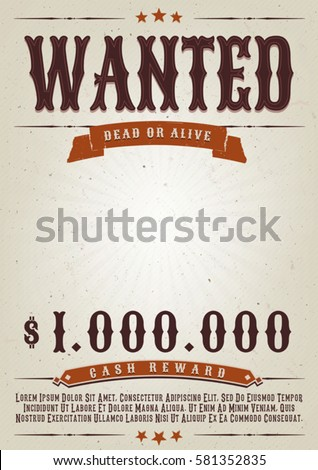 wanted western movie poster illustration vintage のベクター画像素材